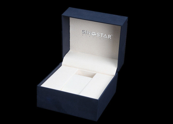 Square Watch Presentation Box , Plastic + Dark Blue Paper Gift Box For Wrist Watch
